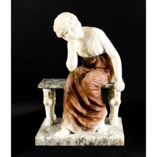 Antique Alabaster Sculpture Wistfulness Young Lady on a Bench Late 19th Century