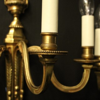French Pair Of Triple Arm Antique Wall Lights