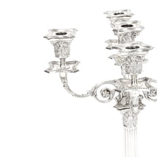 Antique Pair Sterling Silver Five Light Candelabra by Charles Boyton 1890 19th C