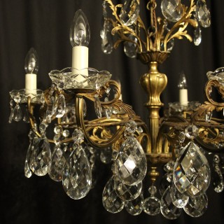 Italian Gilded Bronze 8 Light Antique Chandelier