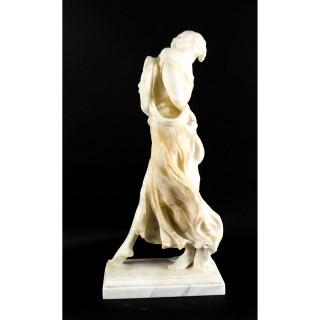 Antique French Art Nouveau Alabaster Sculpture Dancing Lady on Pedestal 19th C