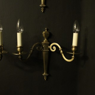 English Set Of 6 Twin Arm Antique Wall Lights