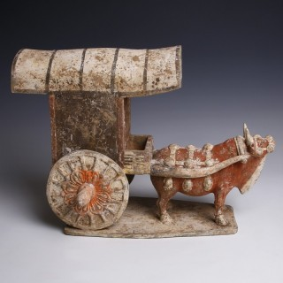 Tang Dynasty Ox Pulling A Cart Statuette