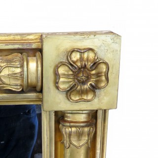 Large English Regency Gilt Overmantle Mirror