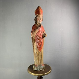 Wood Sculpture Of A Bishop C1600