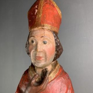 Wood Sculpture Of A Bishop C1600