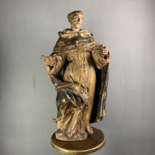 Carved Figure Of A Spanish Saint Mid 17th Century