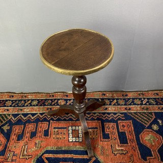 18th Century Brass Bound Candle Stand