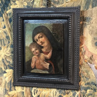 15th Century Madonna And Child Painted On Walnut