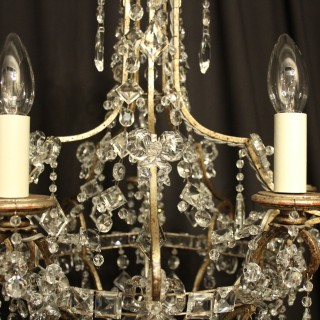 Italian Silver Gilded 5 Light Antique Chandelier