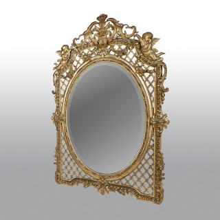 French Carved Giltwood Late 19th Century Mirror