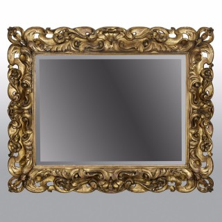 Large Italian 19th Century Carved Giltwood Mirror