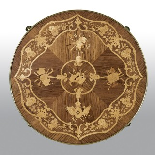 French Gilt Bronze-Mounted Kingwood, and Satinwood Marquetry Center Table