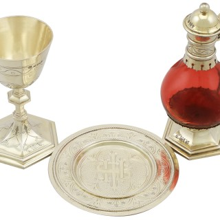 Sterling Silver Gilt and Cranberry Glass Communion Set - Antique Victorian (1877)