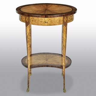 French 19th Century Tulipwood And Marquetry Oval Side Table