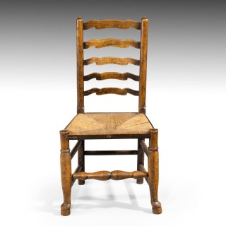 A Most Attractive Set of 8 (6+2) Late 19th Century Elm Ladderback Chairs