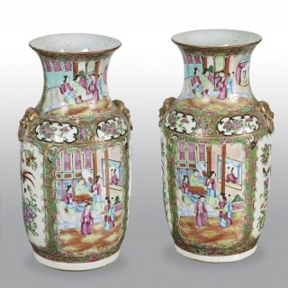 Pair of 19th Century Cantonese Vases