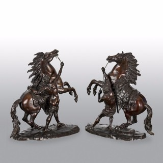 Large Pair of 19th Century Bronze Marley Horses