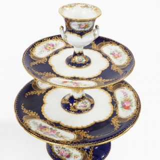 Pair of Early Coalport Porcelain Pedestal Sweetmeat Cake Stands circa 1815