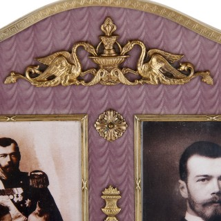 Gold, precious stone, and enamel frame in the manner of Fabergé