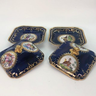 Pair of Regency Hand Painted Porcelain Covered Dishes by Coalport Circa 1805