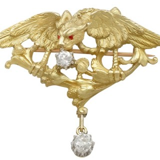 0.56ct Diamond and 18ct Yellow Gold Griffin Brooch - Antique French Circa 1900
