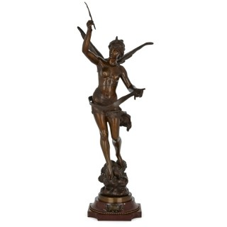 Patinated bronze angel by Ferrand