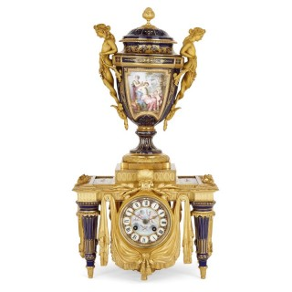 Louis XVI style porcelain and gilt bronze mantel clock