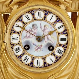 Louis XVI style porcelain and gilt bronze mantel clock