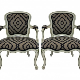 A PAIR OF LARGE SCALE FRENCH PAINTED FAUTEUILS