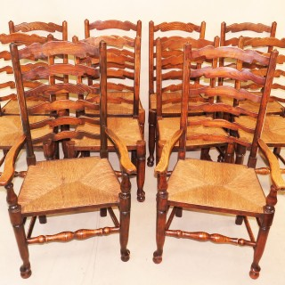 Set Of 10 English 19th Century Ash & Elm Ladder Back Dining Chairs