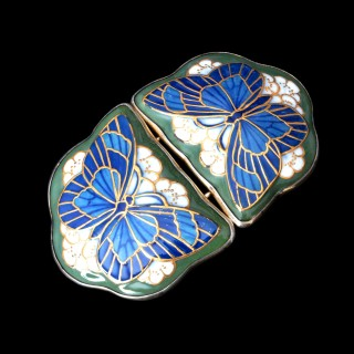 A Michelsen Thomsen Danish silver and ceramic butterfly buckle