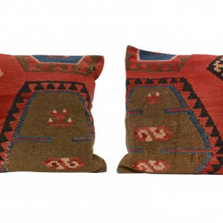 A PAIR OF XIX CENTURY KILIM CUSHIONS
