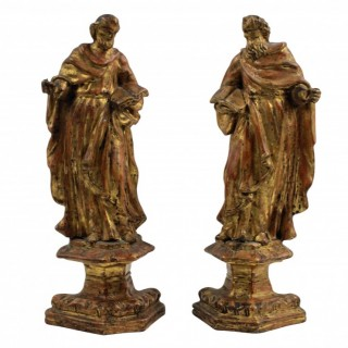 TWO GILTWOOD FIGURES OF SAINTS PETER & PAUL