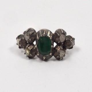 Georgian Emerald and Diamond Ring