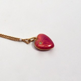 Antique Russian Gold Guilloche Enamel Heart Shaped Locket with Diamond Accent
