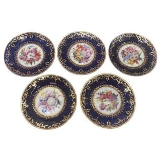 Five Regency Hand Painted Porcelain Plates by Coalport, circa 1805