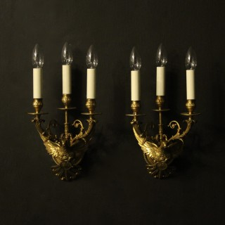 French 19th Century Bronze Wall Sconces