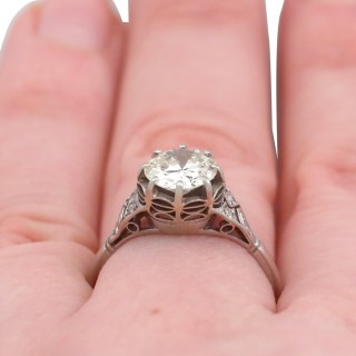 1.60 ct Diamond and 18 ct White Gold Solitaire Ring - Antique Circa 1920