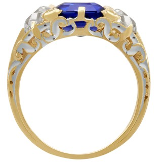 3.80ct Sapphire and 1.48ct Diamond, 18ct Yellow and White Gold Trilogy Ring - Antique Circa 1910