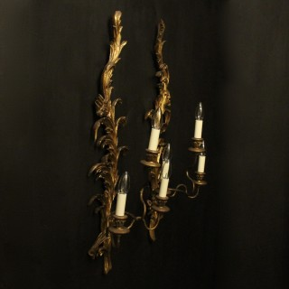 Florentine Pair Of Giltwood Leaf Wall Lights
