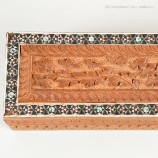 Anglo Indian Carved and Inlaid Sadeli Pen Box