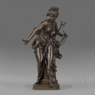 'Melodie' - A Patinated Bronze Allegorical Figure