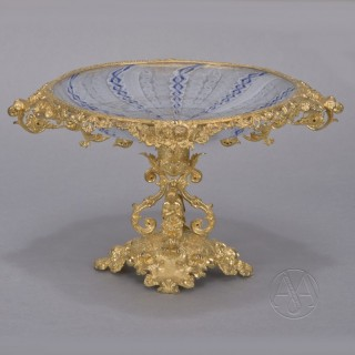 A Napoleon III Gilt-Bronze & Glass Tazza