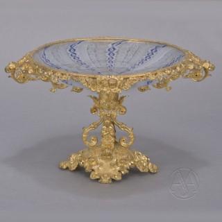 A Napoleon III Gilt-Bronze & Glass Tazza