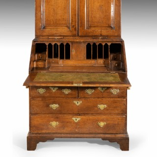An Extremely Well-Drawn Mid 18th Century Oak Bureau Cabinet