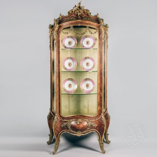An Important and Extremely Rare Louis XV Style Gilt-Bronze Mounted Bombe Vitrine Firmly Attributed to Maison Krieger