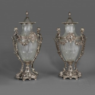 An Impressive Pair of Silvered Bronze & Cut Glass Urns and Covers  By La Compagnie des Cristalleries de Baccarat