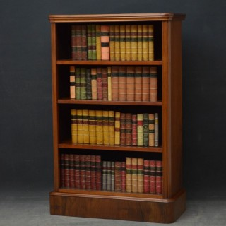 Slim Victorian Open Bookcase in Walnut