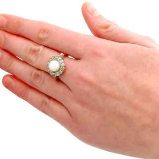 Natural Saltwater Pearl and 1.43ct Diamond, 18ct Yellow Gold Cluster Ring - Antique Circa 1900
